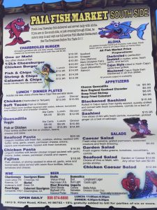 Menu at Paia Fish Market