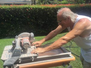 Jim continues his cutting slate tile