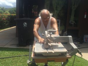 Jim cutting slate tile